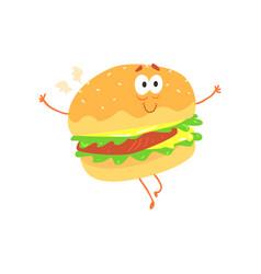 Funny burger cartoon fast food character element vector