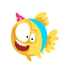 Funny fish in party hat little sea creature vector