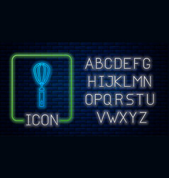 Glowing neon kitchen whisk icon isolated on brick vector