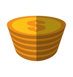 Golden coin pile dollar color shadow vector