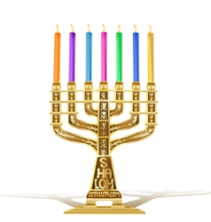 golden menorah vector image