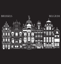 Grand place in brussels belgium-black vector