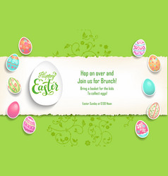 green template poster eggs vector image