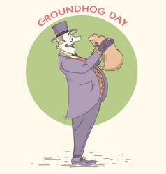 Groundhog day holiday hand drawn vintage vector