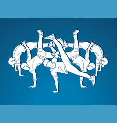 group of people dancing dancing action vector image