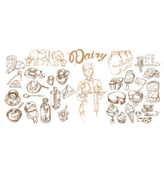 hand drawn dairy products set vector image