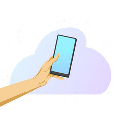hand holds a phone human holds mobile device with vector image