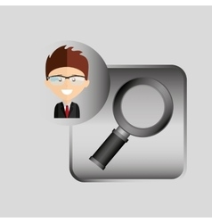 happy businessman searching network media icon vector image