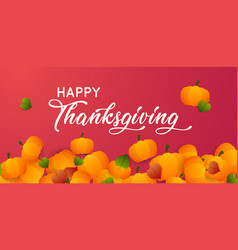 happy thanksgiving text with pumpkins and leaves vector image