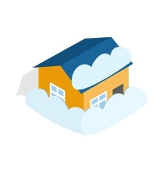 House covered with snow icon isometric 3d style vector