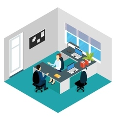 Job Interview Isometric Scene vector