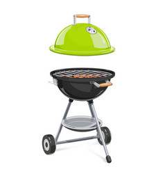 kettle for barbecue with lid vector image