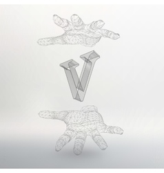 letter V and hand of lines vector image