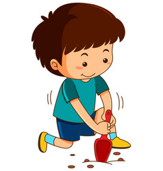 Little boy digging hole with garden spoon vector