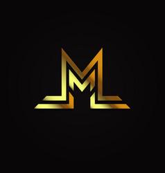 luxury elegant gold initial letter m logo vector image
