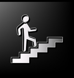 man on stairs going up gray 3d printed vector image