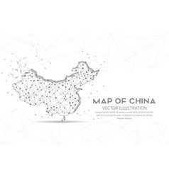 map china digitally drawn low poly wire frame vector image