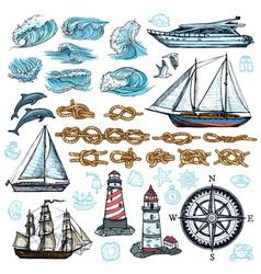 Marine Sketch Set vector image