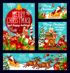 merry christmas holiday greeting cards vector image