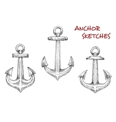 Old marine anchors hand drawn sketches vector image
