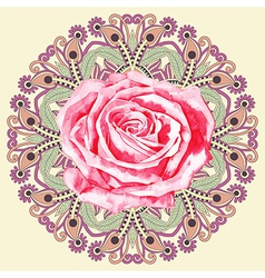 ornamental circle pattern with watercolor rose vector image
