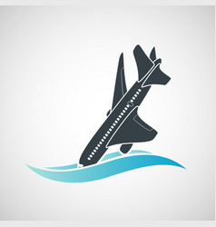 Plane crash icon a terrorist act vector
