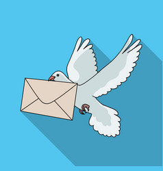 Post pigeonmail and postman single icon in flat vector