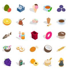 Prepare breakfast icons set isometric style vector