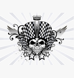 racing skull and chekered vector image
