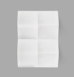 realistic eight folded white a3 sheet of paper vector image