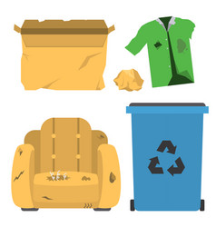 recycling garbage trash bags tires vector image
