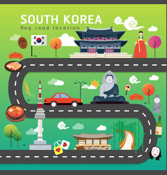 road map and journey route in south korea vector image
