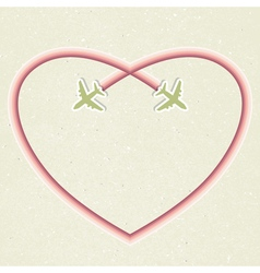 Romantic card with two flying aircraft and vector image