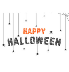 Scribble happy halloween text with spider web vector