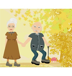 Senior couple walking in autumn day vector image