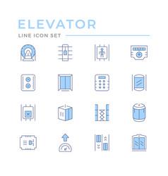 Set color line icons elevator vector