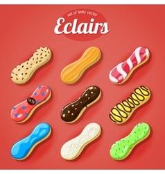 Set delicious eclairs vector