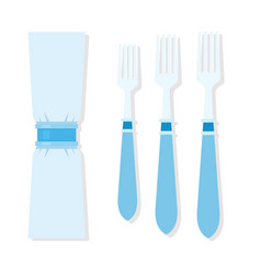 Set forks for table setting with napkin in the vector