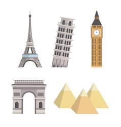 Set global towers tourism adventure vector
