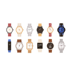 set modern and vintage wristwatches fashion vector image