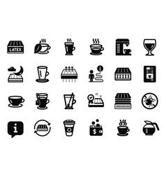 Set of interiors icons related to espresso vector