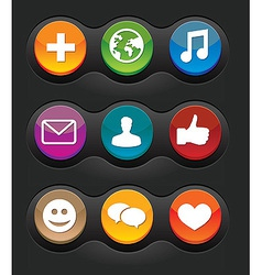 set of nine social media buttons on black backgrou vector image
