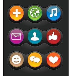 set of nine social media buttons on black backgrou vector image