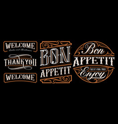 set vintage lettering designs for catering vector image