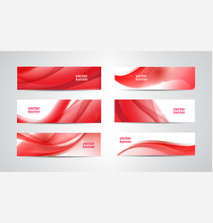 set wavy banners red web headers silk vector image