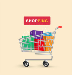 shopping cart colorful shopping bag background vec vector image