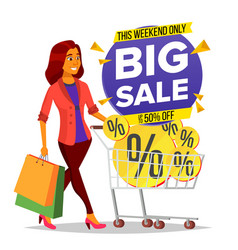 Shopping woman grocery cart big sale vector