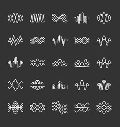 sound and audio waves chalk icons set music vector image