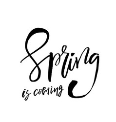 Spring is coming - hand drawn inspiration quote vector