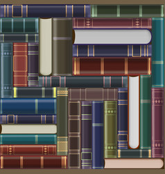Stack vintage books on a shelf background vector